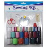 72 Units of 26 PC SEWING KIT WITH NEEDLES SCISSORS ASSORTED COLOR THREAD - SEWING KITS/NOTIONS