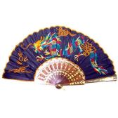 240 Units of BAMBOO DRAGON FAN 12 INCH BLACK FOLDING EMBROIDERED DRAGON PRINT