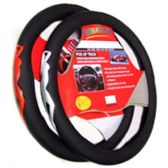 36 Units of BLACK + RED STEERING WHEEL COVER SOFT GR SOLID BLACK WITH RED OR SILVER LOGO - Auto Steering Wheel Cover