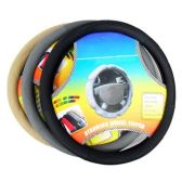 36 Units of STEERING WHEEL COVER THICK SOFT GRIP SOLID COLOR BLACK GRAY OR TAN COLORS