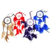 240 Units of 8CM FEATHER DREAM CATCHER 5 COLORS BLUE PURPLE RED BLACK WHITE WITH SHELLS