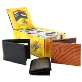 144 Units of LEATHER WALLET DISPLAY ASSORTED CROC LIZARD OSTRICH