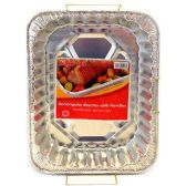 24 Units of RECTANGLE ALUMINUM TURKEY PAN HANDLE THICK HEAVY DUTY STYLE