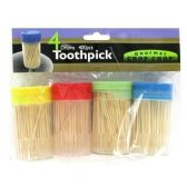 72 Units of 4 PK TOOTHPICK WITH HOLDER THICK BAMBOO TOOTHPICKS - Toothpicks