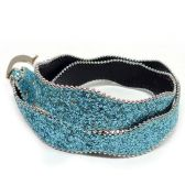 144 Units of GLITTER AND BLUE LEATHER BELTS - Belts