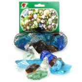 36 Units of DECORATIVE GLASS MARBLES ASSORTED COLORS