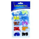 144 Units of SEWING NEEDLE BUTTONS SET KIT ASSORTED COLORS - SEWING KITS/NOTIONS
