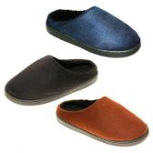 36 Units of MENS SLIPPERS SIZE 7-12 NVY BLU, DK BRWN, BRWN