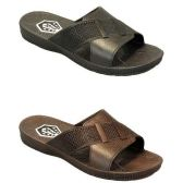 36 Units of MENS SLIDE SANDALS BLK, BRWN SIZE 7 - 12