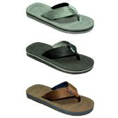 36 Units of MENS THONG SANDALS GRAY, BLCK, BRWN SIZE 7 - 12