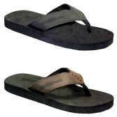 36 Units of MENS THONG SANDALS BLCK, BRWN SIZE 7 - 12