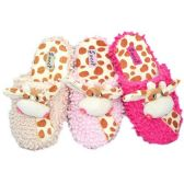 36 Units of WOMENS GIRAFFE SLIPPERS SIZE 5-10 LGHT PNK, HT PNK, BEIGE