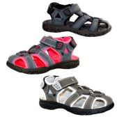 24 Units of KIDS OUTDOOR ACTIVE SANDALS SIZE 11-3 NVY BLU, PINK, GRAY - Kids Aqua Shoes
