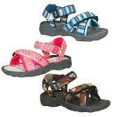 24 Units of KIDS OUTDOOR ACTIVE SANDALS SIZE 11-3 BLUE, PINK, CAMO