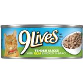 24 Units of 9 LIVES CAT FOOD 5.5 OZ CHICKEN DINNER