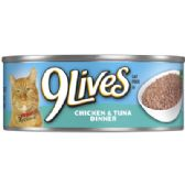 24 Units of 9 LIVES CAT FOOD 5.5 OZ CHICKEN AND TUNA CAN - PET TOYS