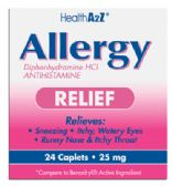 24 Units of ALLERGY RELIEF 24 COATED CAPLETS DIPHENHYDRAMINE 25 MG COMPARE TO BENADRYL