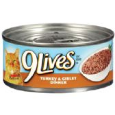 24 Units of 9 LIVES CAT FOOD 5.5 OZ CAN TURKEY AND GIBLET DINNER