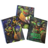 24 Units of TEENAGE MUTANT NINJA TURTLE SPIRAL NOTEBOOK 50 SHEETS ASSORTED DESIGNS IN DISPLAY WIDE RULED