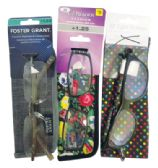 75 Units of FOSTER GRANT PREMIUM READING GLASSES WITH CASES ASSORTED STYLES AND POWERS +1.00 TO 1.50 - Reading Glasses