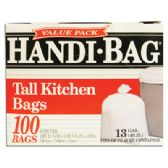6 Units of HANDI BAG TRASH BAGS 100 COUNT 13 GALLON WHITE