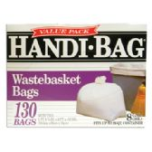 6 Units of HANDI BAG WASTEBASKET TRASH BAGS 130 COUNT 8 GALLON WHITE