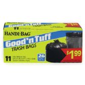 12 Units of HANDI BAG GOOD AND TUFF TRASH BAG 11 COUNT 26 GALLON PREPRICED $1.99