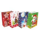 48 Units of CHRISTMAS GIFT BAG 9 X 7 X 4 INCH MEDIUM ASSORTED DESIGNS