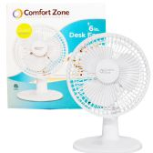 1 Units of COMFORT ZONE DESK FAN 6 INCH 2 SPEED ETL APPROVED