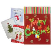 72 Units of PRIDE JUMBO CHRISTMAS CARDS 8.25 X 11.5 INCHES ASSORTED GLITTER/3-D DESIGNS