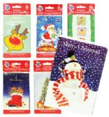 144 Units of PRIDE CHRISTMAS GIFT CARD HOLDER 6 PK 3.75 X 5.25 INCH ASSORTED DESIGNS