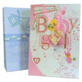 48 Units of BABY GIRL GIFT BAG 4.5 X10.5 X15 INCH LARGE ASSORTED GLITTER DESIGNS - Gift Bags