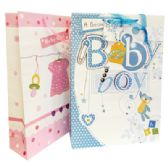 48 Units of BABY GIRL GIFT BAG 4 X13 X18 INCH JUMBO ASSORTED GLITTER DESIGNS - Gift Bags