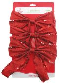 30 Units of CHRISTMAS RED GLITTER BOWS 3 PACK PREPRICED $2.98