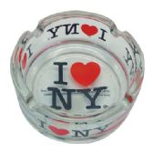 120 Units of ASHTRAY 3 INCH I LOVE NY CLEAR GLASS - Ashtrays(Plastic/Glass)