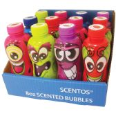 12 Units of SCENTED BUBBLES 8 OZ IN DISPLAY ASSORTED STRAWBERRY/ WATERMELON/ GRAPE/ BLUEBERRY AND GREEN APPLE SCENTS AGES 3+ - Bubbles