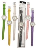 30 Units of LADIES WATCH HEART SHAPED LEATHERETTE DIAMOND ENCRUSTED ASST COLORS