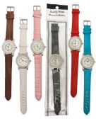 30 Units of LADIES WATCH ROUND DIAMOND ENCRUSTED ROUND LEATHERETTE ASST COLORS