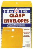 36 Units of CLASP ENVELOPE 3 PACK 9 X 12 INCH - Envelopes