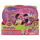 6 Units of DISNEY MINNIE PUZZLE 24 PIECE 2 PACK CARRY AND GO - Puzzle Books