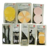 96 Units of MONICA ASHLEY MAKE-UP ACCESSORIES SET ASSORTED SPONGES/ APPLICATORS/ SHAPER/ SHARPENER IN DISPLAY - AUTO CLEANING SUPPLIES