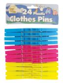 36 Units of PLASTIC CLOTHESPIN 24 PACK 2.75 INCH ASSORTED COLORS - Laundry Supplies