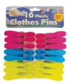 36 Units of PLASTIC CLOTHES PINS 16 PACK 3 INCH ASSORTED COLORS HEAVY DUTY - Laundry Supplies