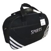 18 Units of SPORT DUFFEL BAG 19.5 X 11.5 X 6.5 INCH BLACK WITH WHITE STRIPE