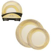 6 Units of CROWN DINNERWARE PLATE SET 40 PC- 20 EACH 7 + 10 INCH DISTINTIVE COLLECTION GOLD - Dinnerware > Plates