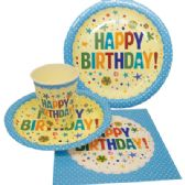 72 Units of PARTY SOLUTION PARTY SET HAPPY BIRTHDAY BOY INCLUDES 18 EACH- 8 CT 9 INCH PLATE/ 8 CT 7 INCH PLATE/8 CT 9 OZ CUPS/ 20 CT NAPKINS - Party Paper Goods