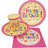 72 Units of PARTY SOLUTION PARTY SET HAPPY BIRTHDAY GIRL INCLUDES 18 EACH- 8 CT 9 INCH PLATE/ 8 CT 7 INCH PLATE/8 CT 9 OZ CUPS/ 20 CT NAPKINS - Party Paper Goods