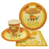 72 Units of PARTY SOLUTION PARTY SET THANKSGIVING INCLUDES 18 EACH- 8 CT 9 INCH PLATE/ 8 CT 7 INCH PLATE/8 CT 9 OZ CUPS/ 20 CT NAPKINS - Party Tableware