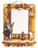 6 Units of HANGING WALL MIRROR DECO. 18 X14 INCH WITH HOOKS WOODEN PIRATE/SEAGULL THEMED - Hooks