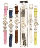 30 Units of LADIES WATCH ROUND DIAMOND LINKS LEATHERETTE ASST COLORS